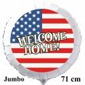 Großer Welcome Home Luftballon USA Flagge, Folienballon Rund, 71 cm, mit Ballongas