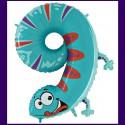 Riesenzahl-Luftballon aus Folie mit Helium, Zahl 9, Eidechse, zum 9. Kindergeburtstag