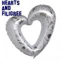 Riesen Herz, Filigree Hearts, Weiß, Folienballon ohne Ballongas