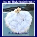 Autodekoration Hochzeit: Großes Herz mit Hochzeitsbärchenpaar auf Rosen, Magnetbefestigung am Hochzeitsauto