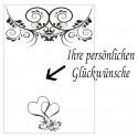 Grußkarte zur Hochzeit, florale Ornamenten und Herzen