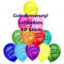 Gute Besserung, Motiv-Luftballons, Bunt gemischt, 10 Stück