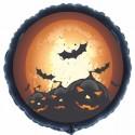 Halloween Luftballon aus Folie, 46 cm Rundballon, schwarz, Kürbisse und Fledermäuse