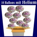 Happy Birthday Balloons zum 30. Geburtstag, 10 Ballons mit Helium zur Geburtstagsparty