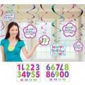 Deko-Wirbler Swirls mit Zahlen zum Einkleben, Happy Birthday, 12 Stück