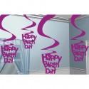 Deko-Wirbler Swirls, Happy Birthday, Pink, 5 Stück
