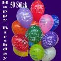 Luftballons Happy Birthday, 50 Stück, bunt gemischt