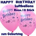 Happy Birthday Motiv-Luftballons, Rosa, 26-27 cm, 10 Stück