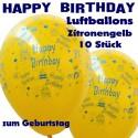 Happy Birthday Motiv-Luftballons, Zitronengelb, 26-27 cm, 10 Stück