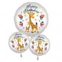 Happy Birthday großes Giraffen Luftballon-Bouquet zum Kindergeburtstag mit Helium