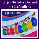 Partygirlande Happy Birthday mit 10 Luftballons, 2 Meter