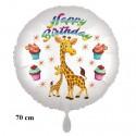 Happy Birthday großer Giraffen Luftballon zum Kindergeburtstag mit Helium