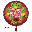 Happy Birthday to you großer Luftballon mit Schildkröten zum Kindergeburtstag mit Helium in Satinrot