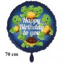 Happy Birthday to you großer Luftballon mit Schildkröten zum Kindergeburtstag mit Helium