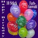 Happy Birthday Motiv-Luftballons, Farbauswahl, 26-27 cm, 10 Stück