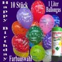 Happy Birthday Motiv-Luftballons mit 1 Liter Ballongas, Farbauswahl, 26-27 cm, 10 Stück