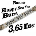 Silvester Dekoration, Letterbanner, Happy New Year, Burst