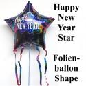Silvester-Luftballon aus Folie, Happy New Year Star, mit Helium gefüllt