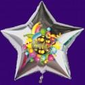 "Luftballon aus Folie, ""Helau"", silberner Sternballon mit Ballongas"