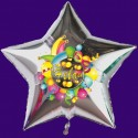 "Luftballon aus Folie, ""Helau"", silberner Sternballon"