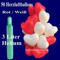 Midi-Set 2/1A, 50 rote und weiße Herzluftballons mit Helium / inkl. Rückporto