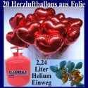 Helium- Einwegbehälter mit 20 Herzluftballons aus Folie (Farbauswahl)