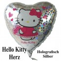 Luftballon Hello Kitty, Herz Folienballon mit Ballongas
