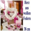 Herz aus Federn, 38 cm, Weiß, Dekoration Hochzeit