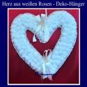 Herz aus weißen Rosen, Dekorations-Hänger Hochzeit