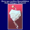 Herz aus Rosenblüten in Weiß, Deko-Hänger Hochzeitsdekoration