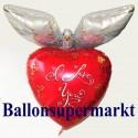 Riesen-Herzluftballon mit Taube, I Love You, Folienballon mit Ballongas