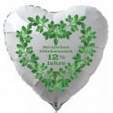 """Weißer Herzluftballon zur Petersilienhochzeit, """"Herzlichen Glückwunsch 12 ½ Jahre"""" , inklusive Helium"""