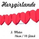 Herzgirlanden 10Stck. / Rot / 16cm