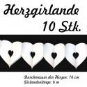 Herzgirlande Weiß 16 cm 10 Stück