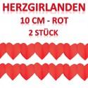 Herzgirlanden Rot 10 cm 2 Stück