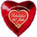 Herzliche Glückwünsche zur Rubinhochzeit, roter Luftballon in Herzform, ohne Helium