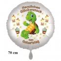Herzlichen Glückwunsch großer Luftballon mit Schildkröte zum Kindergeburtstag mit Helium