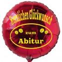 Herzlichen Glückwunsch zum Abitur, Rund-Luftballon mit Helium-Ballongas, Ballongrüße