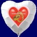 Weißer Herzluftballon zur Hochzeit, Hochzeitsringe, HERZLICHE GLÜCKWÜNSCHE, ohne Helium