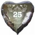 Herzballon zur Silbernen Hochzeit in Silber, Luftballon mit den Namen des Ehepaares, Zahl 25, Tauben, Schleifen und Herzen. Inklusive Helium