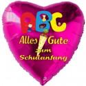 Alles Gute zum Schulanfang, Herzluftballon aus Folie, Pink, mit Helium-Ballongas