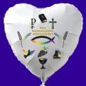 Zur Kommunion Alles Liebe, Luftballon Herz aus Folie, weiß, mit Helium