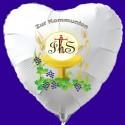 Zur Kommunion, Luftballon Herz aus Folie, weiß, mit Helium