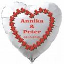 Herzballon zur Hochzeit in Weiß, Luftballon mit den Namen des Brautpaares und dem Datum der Hochzeit, Herz aus roten Rosen, Inklusive Helium