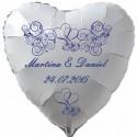 Herzballon zur Hochzeit in Weiß, Luftballon mit den Namen des Brautpaares und dem Datum der Hochzeit, blaue Ornamente, Inklusive Helium