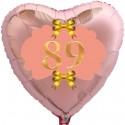 Herzluftballon Roségold zum 89.Geburtstag, 45 cm, Rosa-Gold ohne Helium