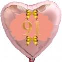 Herzluftballon Roségold zum 91.Geburtstag, 45 cm, Rosa-Gold ohne Helium