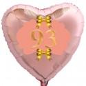 Herzluftballon Roségold zum 93.Geburtstag, 45 cm, Rosa-Gold ohne Helium