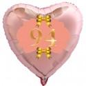 Herzluftballon Roségold zum 94.Geburtstag, 45 cm, Rosa-Gold, ohne Helium