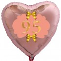 Herzluftballon Roségold zum 95.Geburtstag, 45 cm, Rosa-Gold